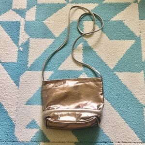 Handbags - Gold leather cross bag, made in USA!